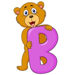Alphabet B with bear cartoon vector image vector image
