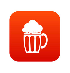 Beer icon digital red vector