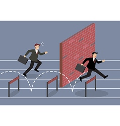Businessman jumping over hurdle competition vector