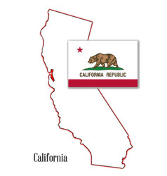 california state map and flag vector image vector image