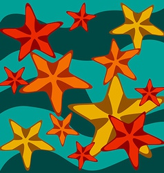 Card with starfishes on wavy background vector image