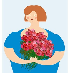 Cheerful kind woman with bouquet of roses exciting vector