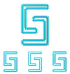 Cyan line science logo design set vector