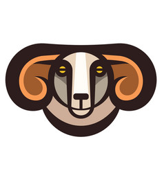 drawing head of horned ram vector image