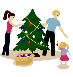 Family decorate christmas tree vector