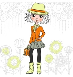 fashion hipster girl vector image vector image
