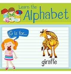 Flashcard alphabet g is for giraffe vector
