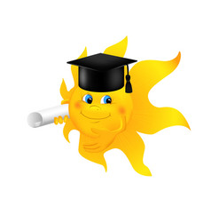 Funny cartoon sun wearing graduation cap vector