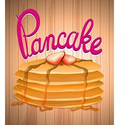 Layer of pancake and fresh strawberry vector
