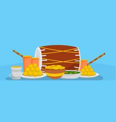 Lohri food banner flat style vector