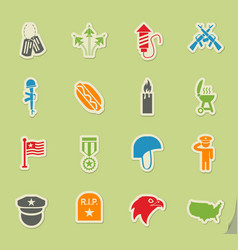 Memorial day icon set vector