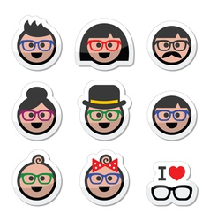People wearing glasses geek labels set vector image vector image