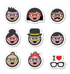 People wearing glasses geek labels set vector