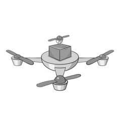 Quadcopter icon black monochrome style vector image