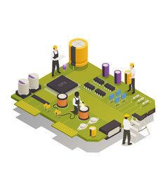 Semiconductor electronic components isometric vector
