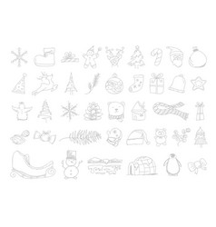 set hand drawn christmas icons design vector image vector image