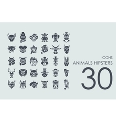 Set of animals hipsters icons vector