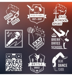 Set of badges logos and sign break dance vector
