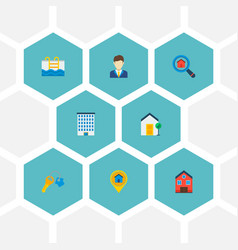 Set of realestate icons flat style symbols with vector