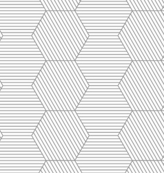 Slim gray striped hexagons vector image vector image