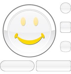 Smiley white button vector