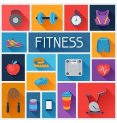 Sports background with fitness icons in flat style vector