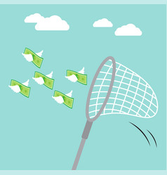 sweep net catching flying money vector image