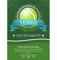 Tennis tournament background or poster with tennis vector