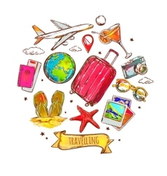 Travel round sketch composition vector