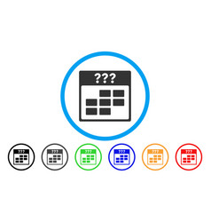 Unknown month calendar grid rounded icon vector