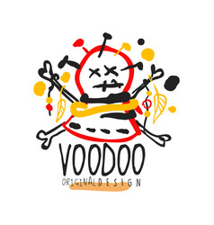 Voodoo african and american magic logo head with vector