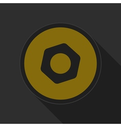 Yellow round button with black nut icon vector