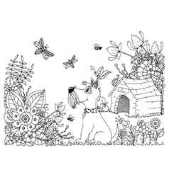 Zentangl dog kennel and in vector