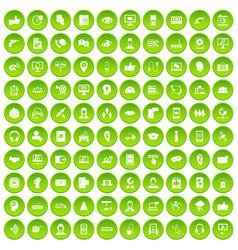 100 call center icons set green circle vector