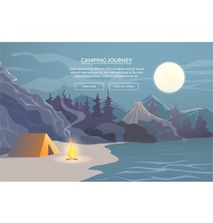 Camping journey banner for website vector
