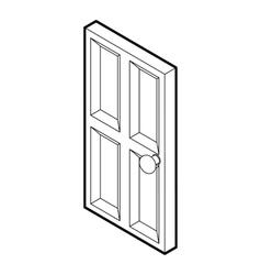 Wooden door icon outline style vector image