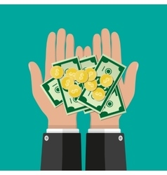 Hands with golden coins and banknotes vector