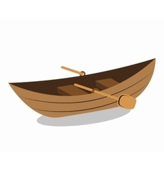 Wooden canoe isolated icon vector