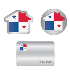 Home icon on the panama flag vector