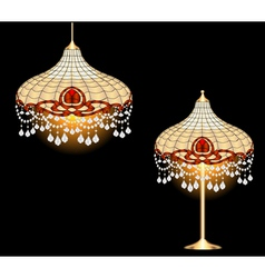 Vintage chandelier and table lamp vector