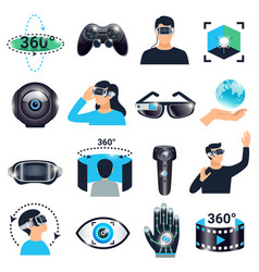 Virtual reality visualization simulation icon set vector