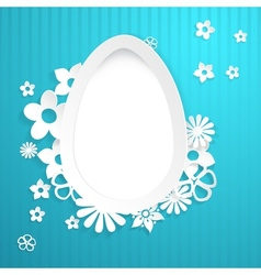 Background with egg and paper flowers on blue vector