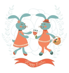 Cute rabbits couple vector