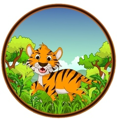 Tiger with forest background vector