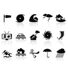 black storm icons set vector image