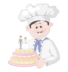 Cartoon cook with holiday wedding cake vector