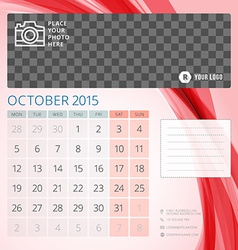 Calendar 2015 october template with place for vector