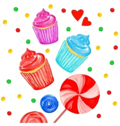 Acrylic background with cupcakes vector