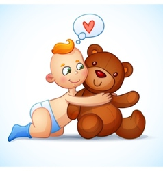 Baby boy redhead hugs teddy bear toy on a white vector