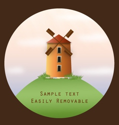 Windmill on a hill in a circle frame vector